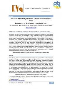 Influence of Solubility of Ethanol Extracts in Artemia salina Tests