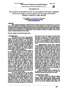 influence of substitution of ordinary portland cement ... - ARPN Journals