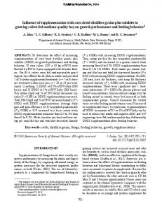 Influence of supplementation with corn dried distillers grains plus