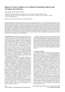 Influence of surface roughness on wet adhesion of biomimetic ...