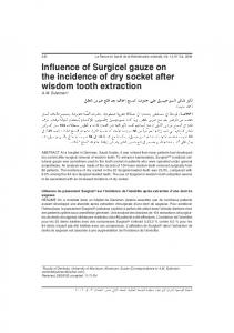 Influence of Surgicel gauze on the incidence of dry socket after ...