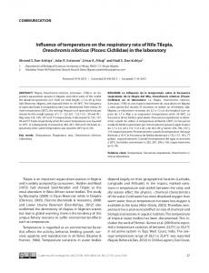 Influence of temperature on the respiratory rate of Nile Tilapia ...
