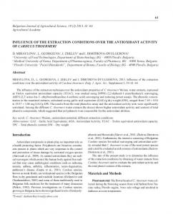 INFLUENCE OF THE EXTRACTION CONDITIONS OVER THE ...