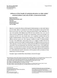 Influence of the length of institutionalization on older adults ... - SciELO