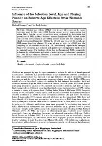 Influence of the Selection Level, Age and Playing Position ... - IRATDE