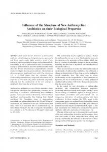 Influence of the Structure of New Anthracycline Antibiotics on their ...