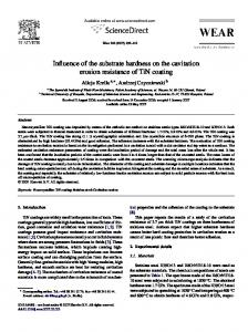 Influence of the substrate hardness on the cavitation erosion ...
