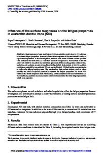 Influence of the surface roughness on the fatigue properties in ...