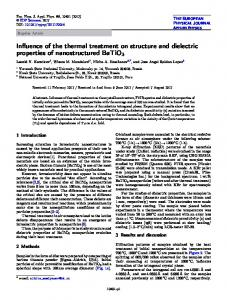 Influence of the thermal treatment on structure and dielectric properties ...