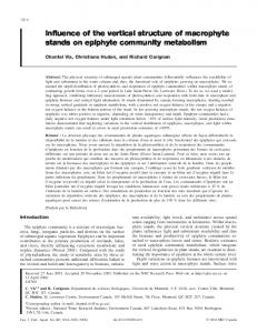 Influence of the vertical structure of macrophyte stands on epiphyte ...