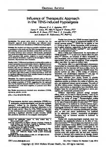 INFLUENCE OF THERAPEUTIC APPROACH IN THE ...