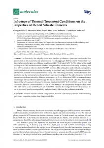 Influence of Thermal Treatment Conditions on the ... - Semantic Scholar
