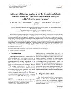 Influence of thermal treatment on the formation of ohmic contacts ...