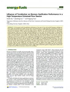Influence of Torrefaction on Biomass Gasification ... - ACS Publications