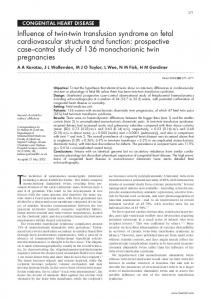 Influence of twin-twin transfusion syndrome on fetal ... - Heart - BMJ