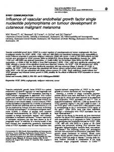 Influence of vascular endothelial growth factor single ... - Nature
