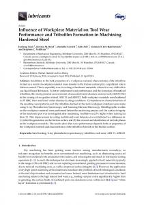 Influence of Workpiece Material on Tool Wear Performance ... - MDPI