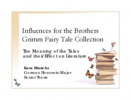 Influences for the Brothers Grimm Fairy Tale Collection
