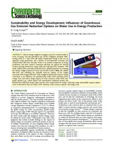 Influences of Greenhouse Gas Emission Reduction Options on Water ...