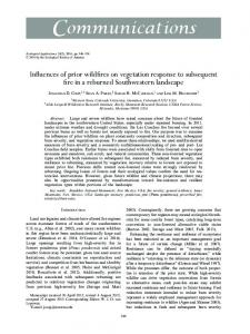Influences of prior wildfires on vegetation response to subsequent fire ...