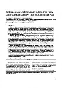 Influences on Lactate Levels in Children Early After Cardiac Surgery ...