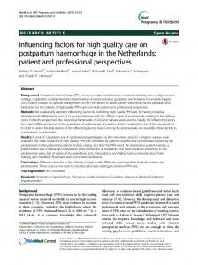 Influencing factors for high quality care on postpartum haemorrhage in ...
