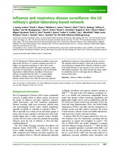 Influenza and respiratory disease surveillance: the US military's global ...