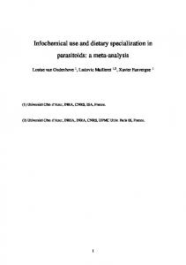 Infochemical use and dietary specialization in ...