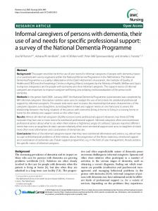 Informal caregivers of persons with dementia, their