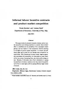 Informal labour incentive contracts and product market ... - AIEL