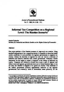 Informal Tax Competition on a Regional Level: The ... - CiteSeerX