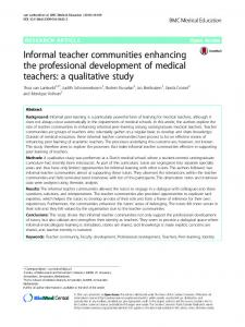 Informal teacher communities enhancing the professional ...
