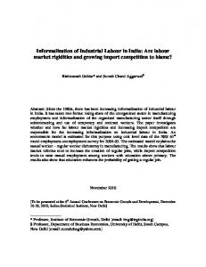Informalization of Industrial Labour in India: Are labour ... - ISI Delhi