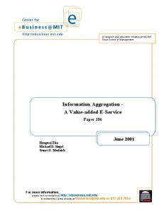 Information Aggregation - Center for eBusiness - MIT