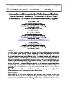 Information and Communication Technology and Business Studies ...