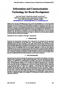 Information and Communication Technology for Rural ... - CiteSeerX