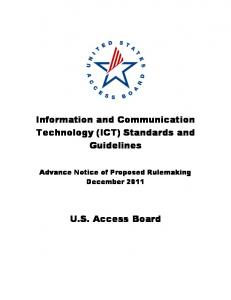 Information and Communication Technology (ICT) Standards and ...