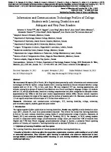 Information and Communication Technology Profiles of College ...