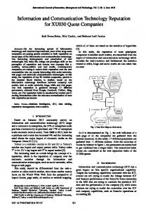 Information and Communication Technology Reputation for XU030 ...