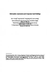 Information Asymmetry and Corporate Cash Holdings - European ...