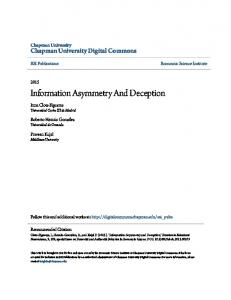 Information Asymmetry And Deception - Chapman University Digital ...