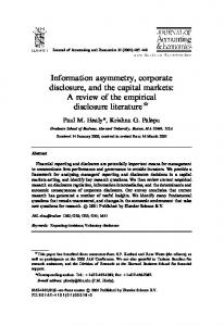 Information asymmetry, corporate disclosure, and the capital markets ...