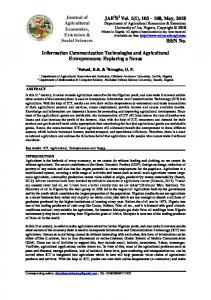 Information Communication Technologies and Agricultural