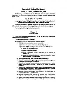 Information & Communication Technology Act, 2006 - The ...