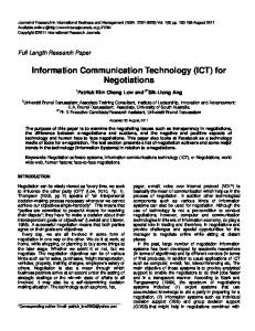 Information Communication Technology (ICT) for Negotiations
