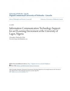 Information Communication Technology Support for an ELearning ...