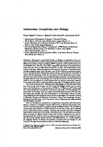 Information Complexity and Biology - Semantic Scholar