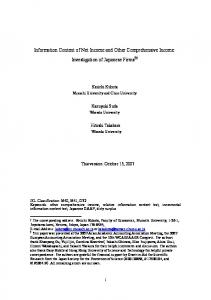 Information Content of Net Income and Other Comprehensive ...