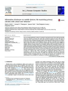 Information disclosure on mobile devices_ Re-examining privacy ...