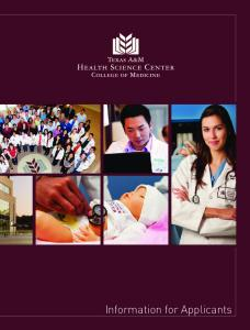 Information for Applicants - College of Medicine - Texas A&M Health ...